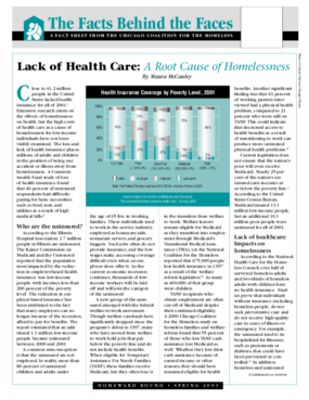 Lack of Health Care: A Root Cause of Homelessness